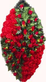 Ритуальный венок из искусственных цветов - Элит #40 красный из роз, гвоздик и зелени