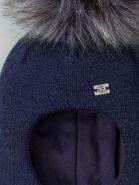 РБ 21890 Шапка-шлем вязаная для мальчика с помпоном, нашивка RB, темно-синий