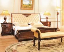 Кровать ELIZABETH В 1,8*2,0 м (кожа) б/осн, ткань Gold