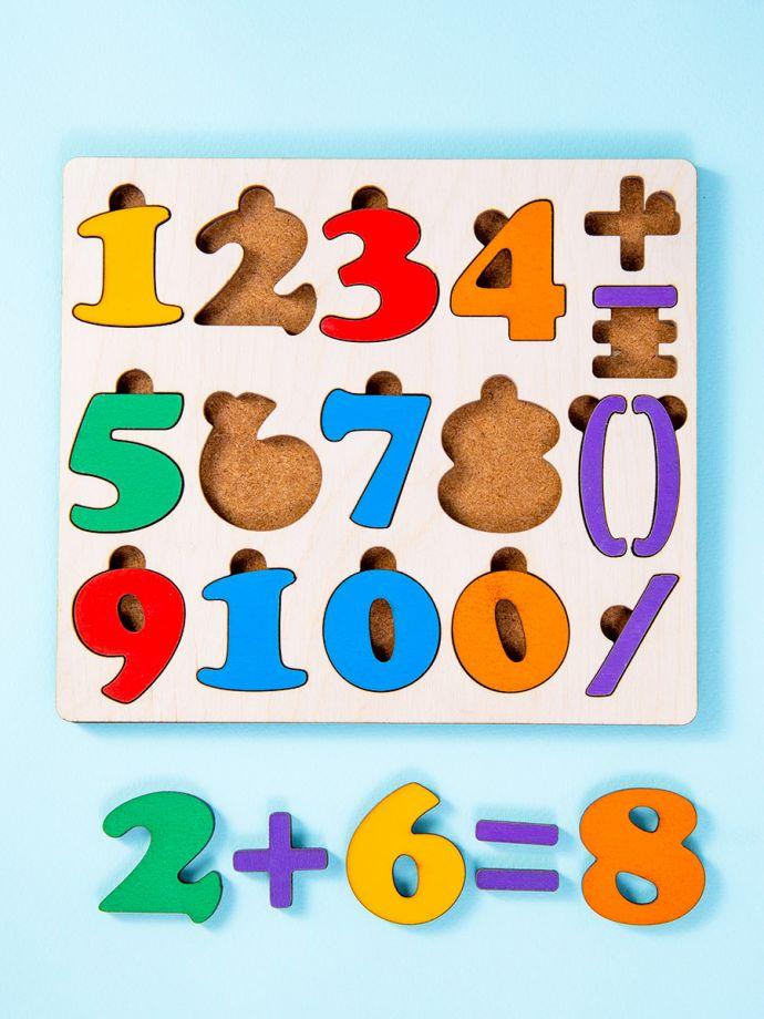 Цифры, числа настольная, развивающая игра (рамка - вкладыш)