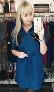 Платье рубашка с кармашками из двухсторонних пайеток и поясом
