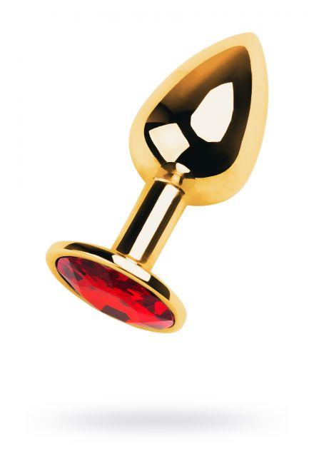 Анальный страз Metal by TOYFA, металл, золотистый, с кристаллом цвета рубин, 7 см, Ø 2,8 см, 50 г