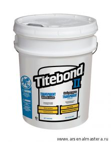 Клей столярный влагостойкий прозрачный TITEBOND II Transparent Premium Wood Glue 1127 прозрачный 20 кг