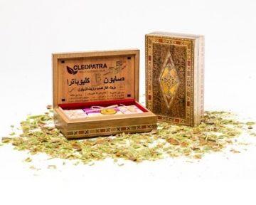 """Набор оливкового мыла в подарочной деревянной шкатулке ручной работа """"Мозаика"""", 3 шт./~450 гр"""