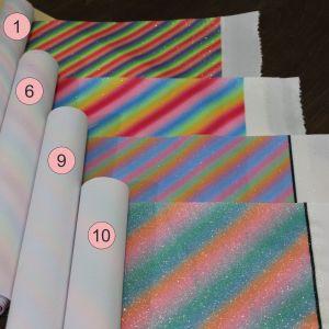 Искусственная кожа(PU, кожзам), глиттер, радуга, толщина 0,55мм (1уп = полоса 30см*133-137см)