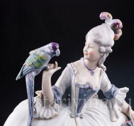 Девушка с тростью и попугаем, Karl Ens, Германия, пер. пол. 20 в.