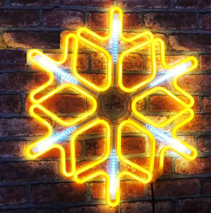 Снежинка из неона 60х60 см золотой IP67 с эффектом бегущих огней, уличная
