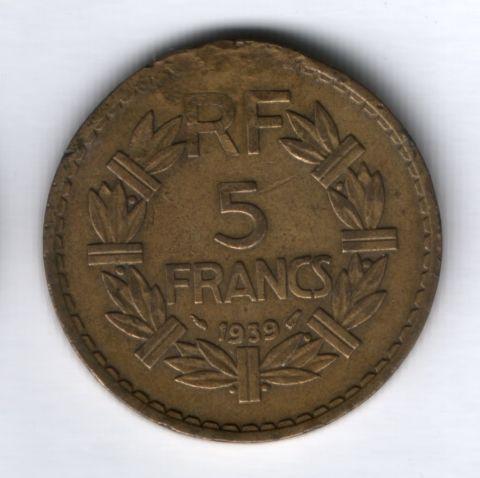 5 франков 1939 года Франция, редкий тип