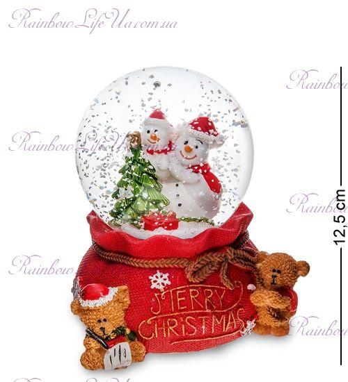 """Шар со снегом муз. с подсветкой """"Новогодние снеговики"""""""