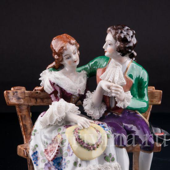 Изображение Пара на скамейке, кружевная, Volkstedt, Германия, вт. пол. 20 в.