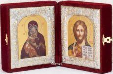 Складень Владимирская  Богоматерь и Господь Вседержитель иконы (12x20см)