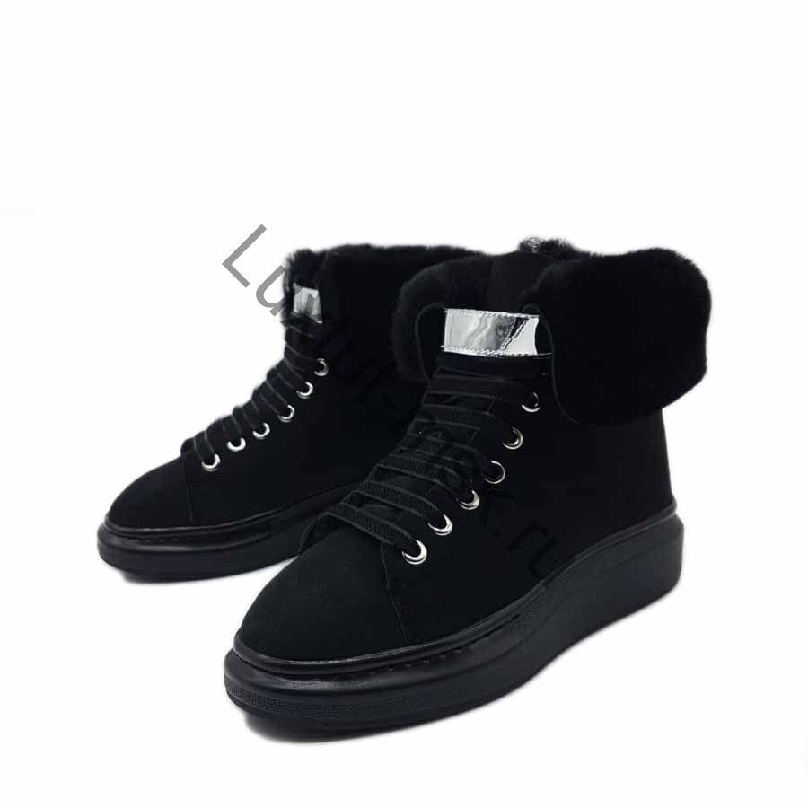 0443202c Ботинки женские Alexander McQueen черные замшевые с мехом зимние купить со  скидкой ...
