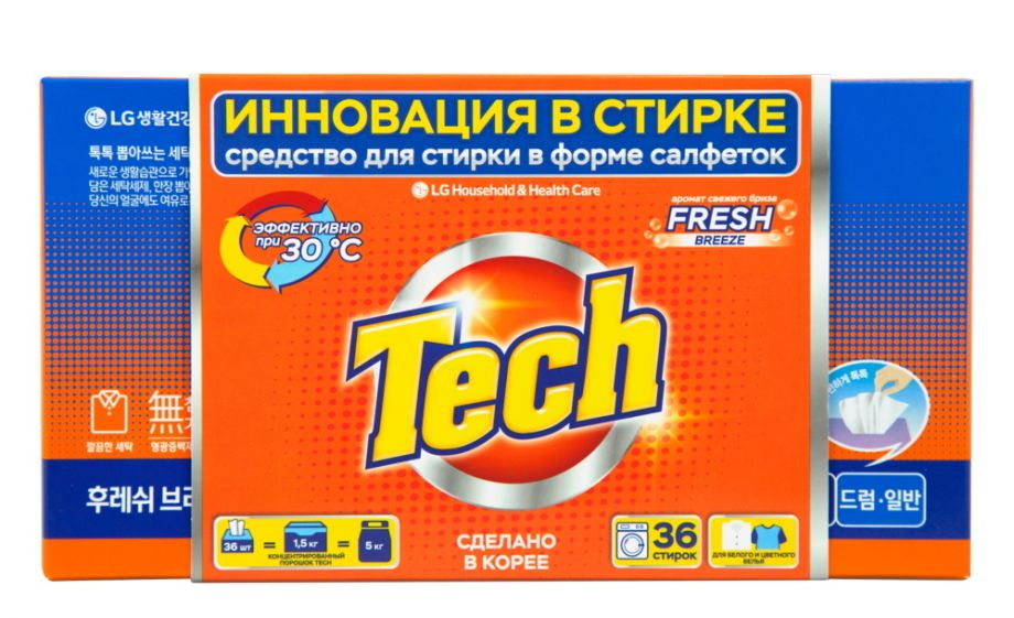 "Средство для стирки Tech ""Fresh Breeze"", в листах, 36 шт"