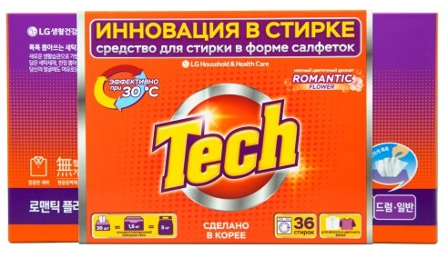"Средство для стирки Tech ""Romantic flower"", в листах, 36 шт"