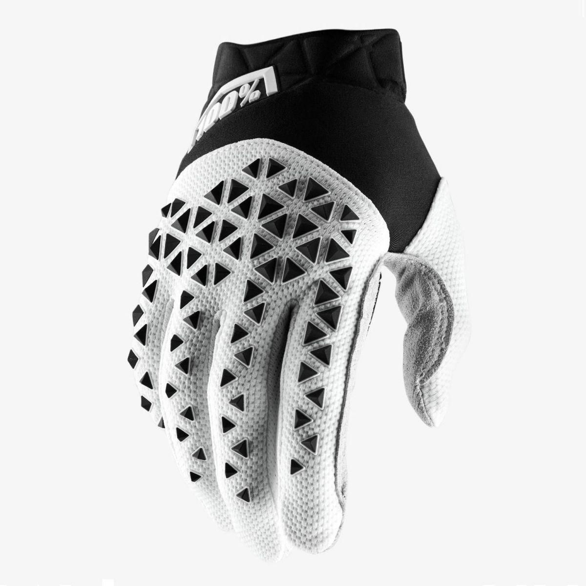 100% - 2019 Airmatic Black/White/Silver перчатки, черно-бело-серые