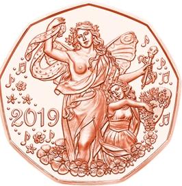 Радость жизни 5 евро Австрия 2019 Новогодняя монета! на заказ