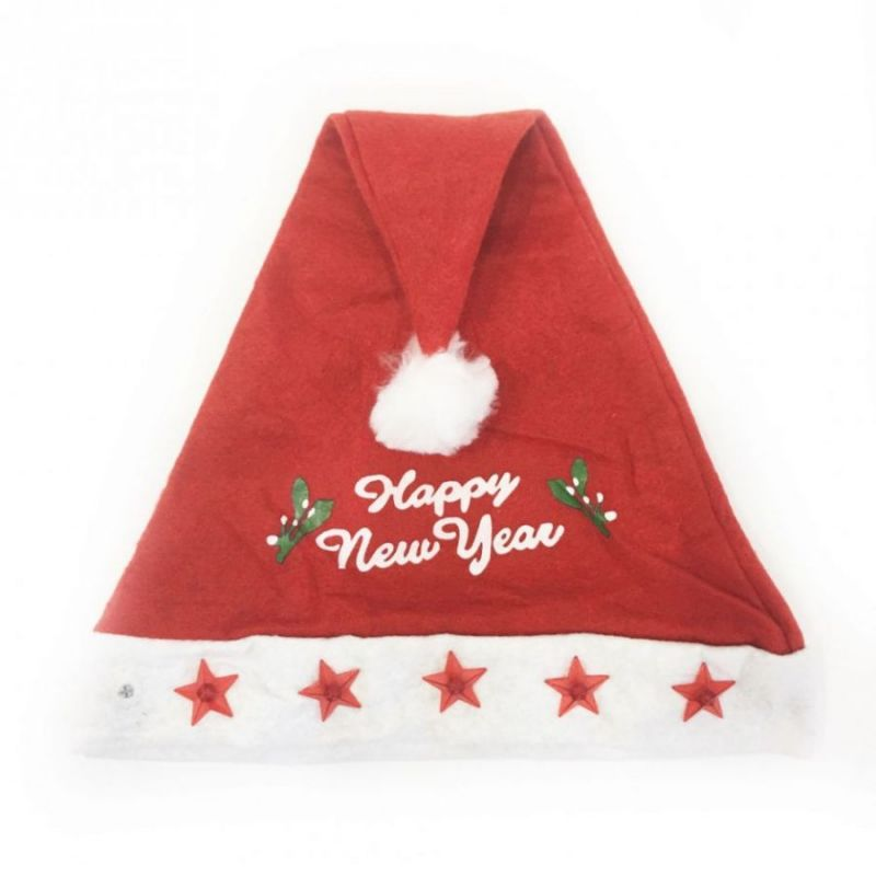 Красный новогодний колпак со звездами Happy New Year
