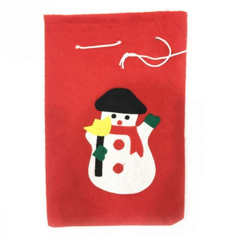 Новогодний мешок для подарков, 40х60 см, Аппликация Снеговик