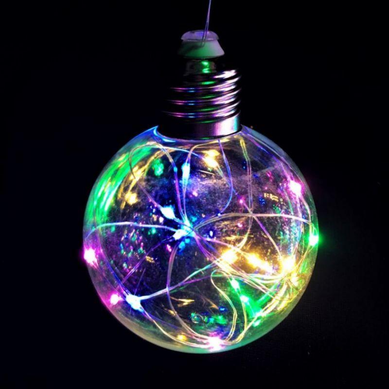 Ретро-лампа со светодиодной нитью, 8 см 1 шт, свечение разноцветное