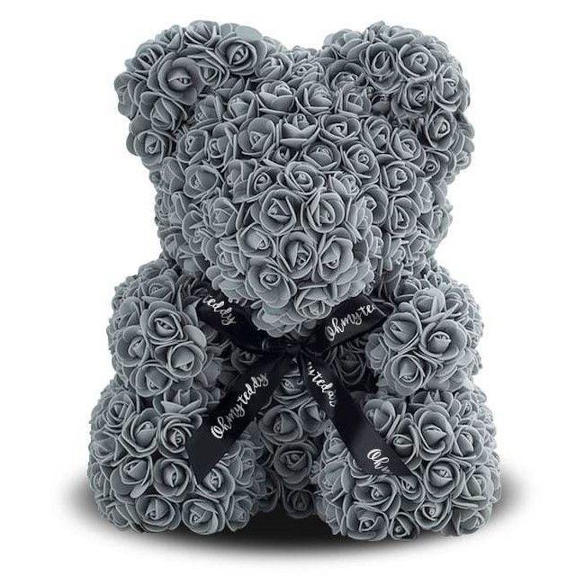 Мишка из роз 40 см, цвет серый
