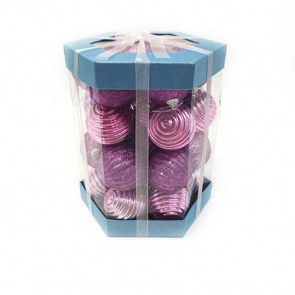 Набор елочных игрушек Шары 6 см, 28 шт, розовый светлый