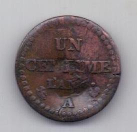 """1 сантим 1797 года L""""AN 6 Франция"""