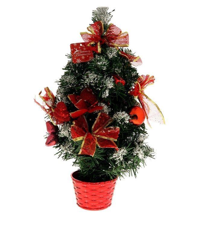 Настольная заснеженная ёлка в горшке Красная пуансетия, 30 см