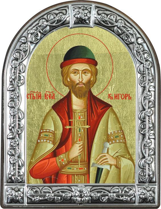 Икона Святой благоверный князь Игорь (Греция, 13х10 см.)