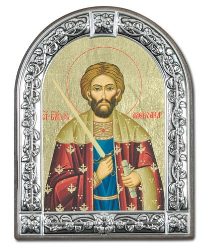 Икона Святой благоверный князь Александр Невский (Греция, 13х10 см.)
