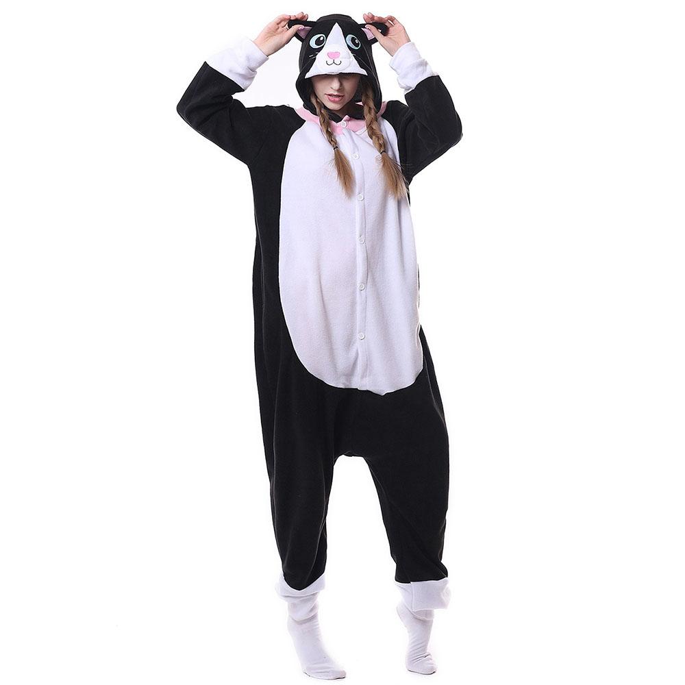 Пижама Кигуруми Кошка Чёрно-Белая