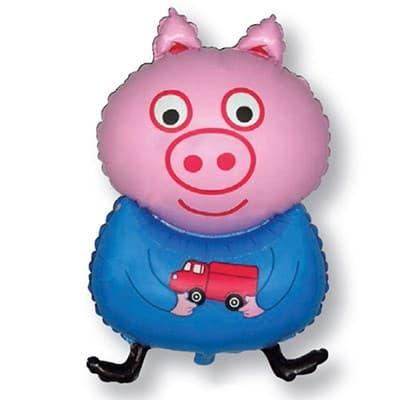 Поросенок Свинка Мальчик фигурный шар фольгированный с гелием
