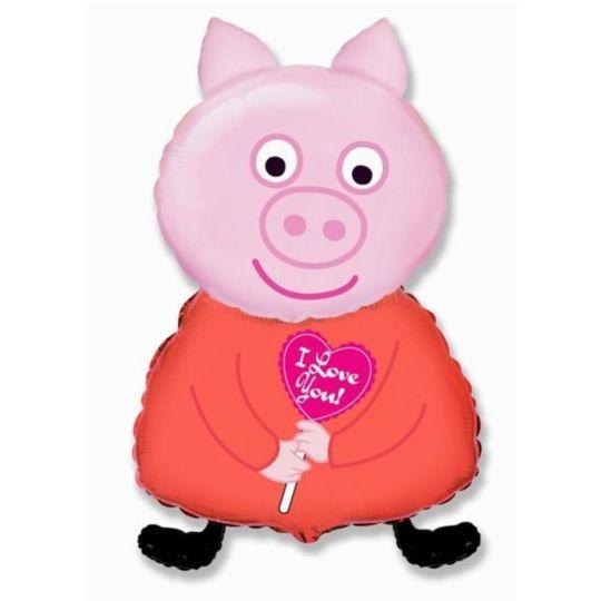 Поросенок Свинка Девочка фигурный шар фольгированный с гелием