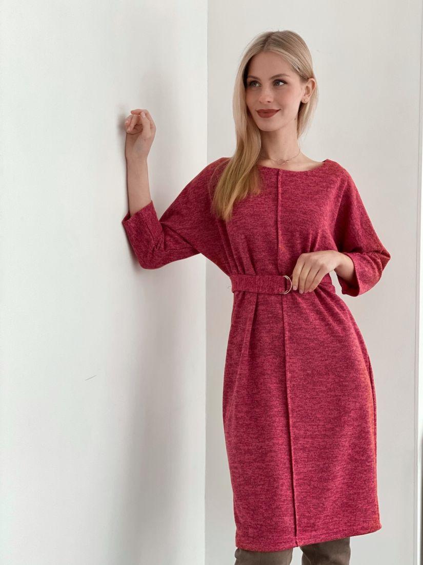 s3746 Платье с планкой ягодное