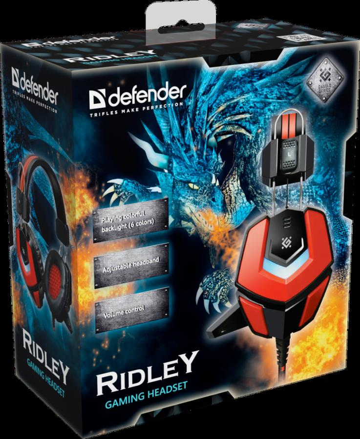 Гарнитура игровая  Defender Ridley красный + черный