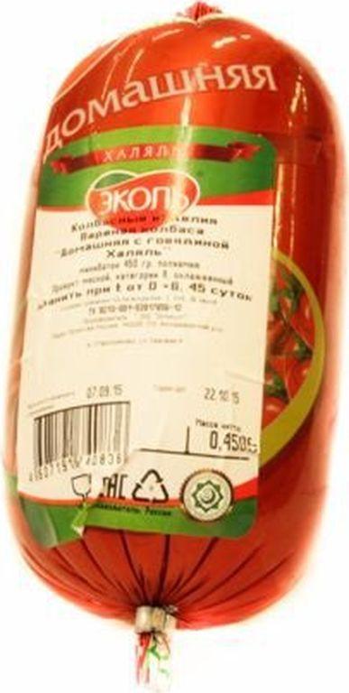 Колбаса Домашняя Говяжья халяль 450 г, Эколь