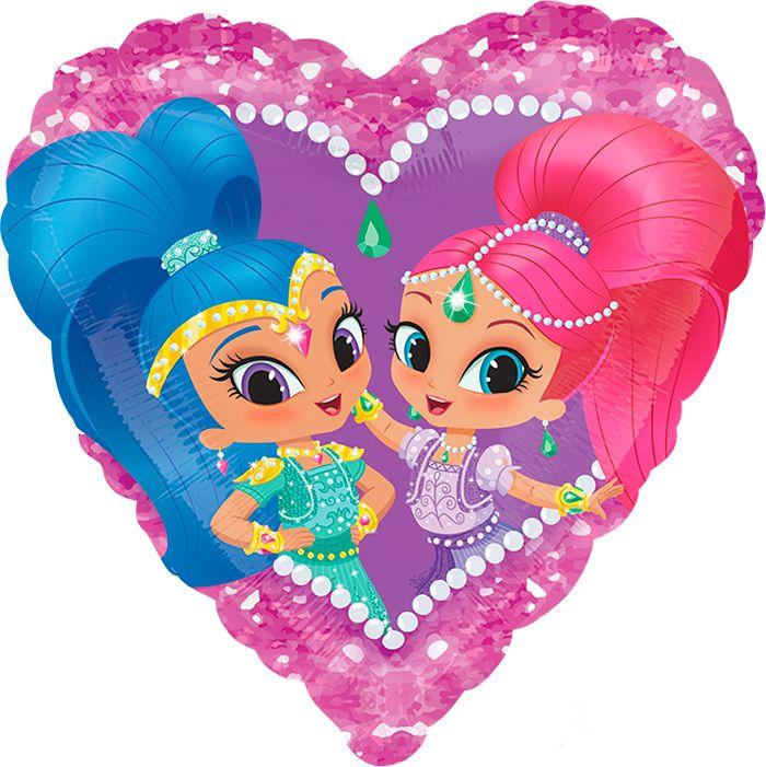 Шиммер и Шайн шар сердце фольгированный с гелием