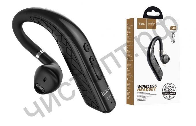 Bluetooth гарнитура моно HOCO E48 Superior цвет: чёрный на прав / лев ухо зарядка 15 минут