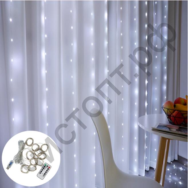 Гирлянда-штора OG-LDG08 LED (3х3м,300 ламп,белая-холодная) на каждый день
