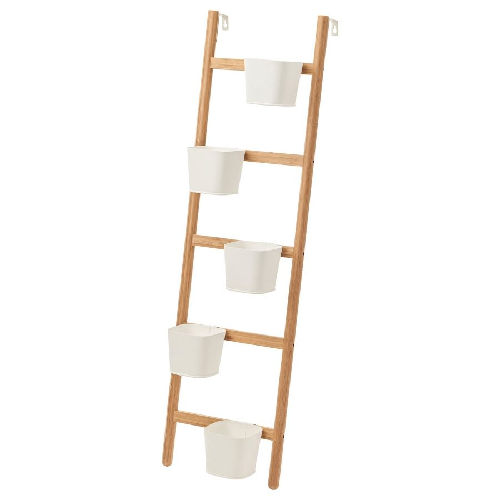 SATSUMAS САТСУМАС, Подставка с 5 кашпо, бамбук/белый, 125 см - 003.719.77