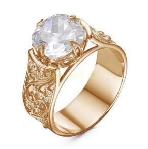 Позолоченное ажурное кольцо с массивным фианитом (арт. 788105)