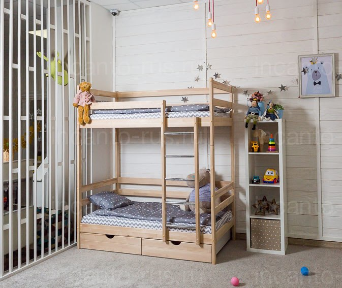 Двухъярусная кровать Altezza цвет натуральный с ящиками Детская кроватка