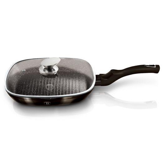 BH-6612 Shiny Black Edition Сковорода-гриль со стеклянной крышкой 28см