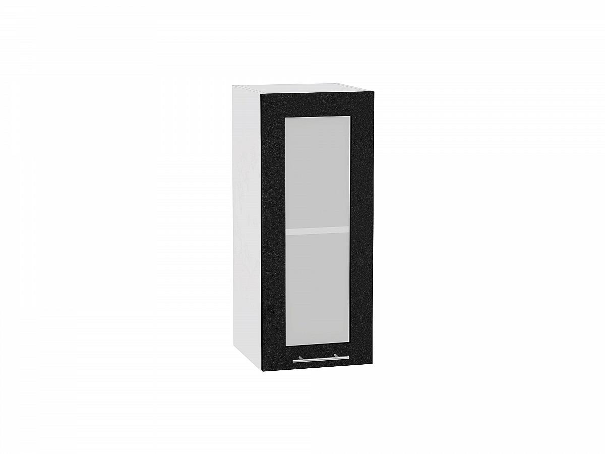 Шкаф верхний Валерия В300 со стеклом (чёрный металлик)