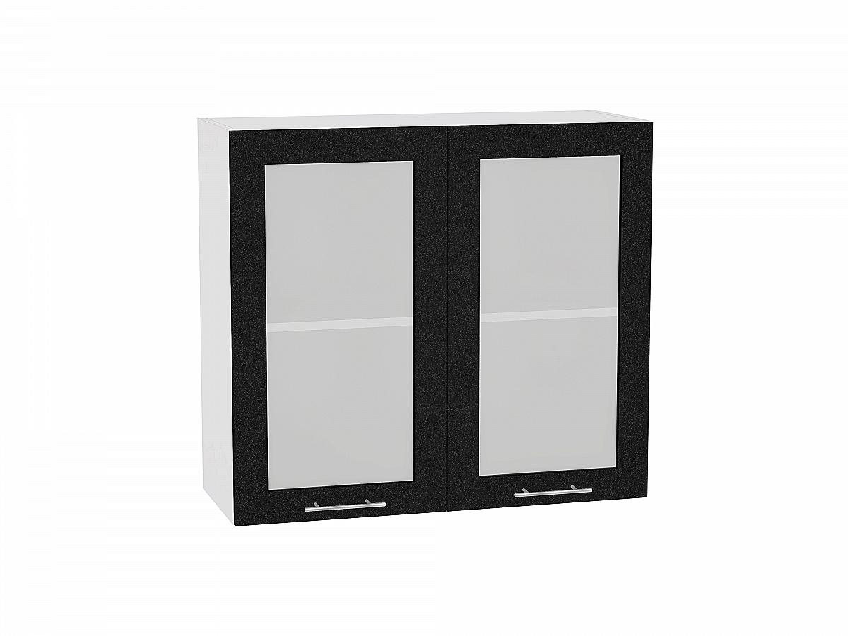 Шкаф верхний Валерия В800 со стеклом (чёрный металлик)