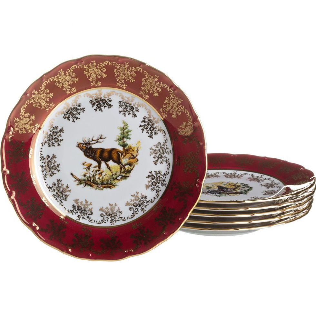 """Набор тарелок """"Красная охота"""" 6 штук"""