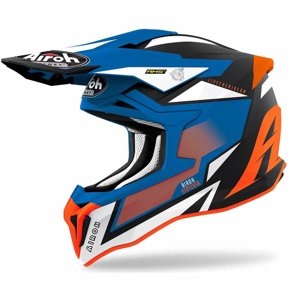 Airoh Strycker Axe Orange/Blue Matt шлем для мотокросса и эндуро