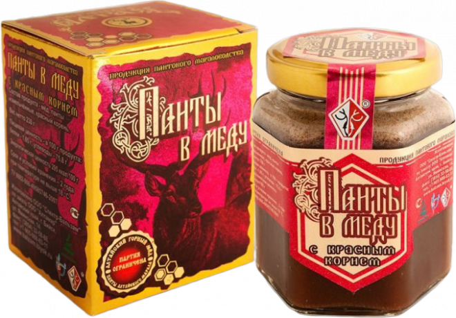 Панты в меду с красным корнем (230 гр.)