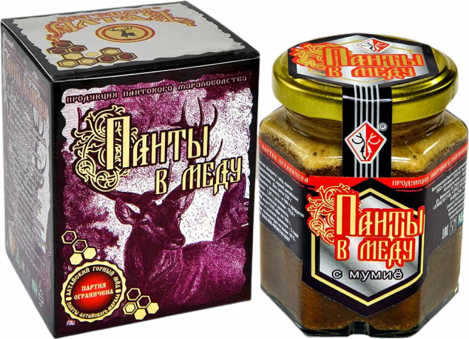 Панты в меду измельченные с мумие 250 грамм