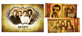 100 рублей - QUEEN (золото). Памятная банкнота в буклете.