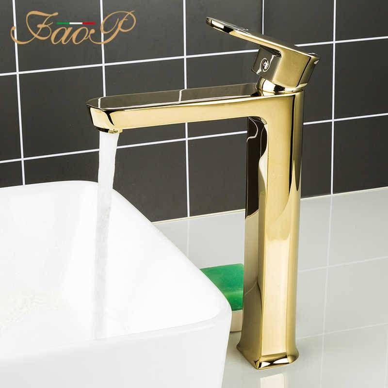 Смеситель для раковины под чашу золото Faop A1099-6
